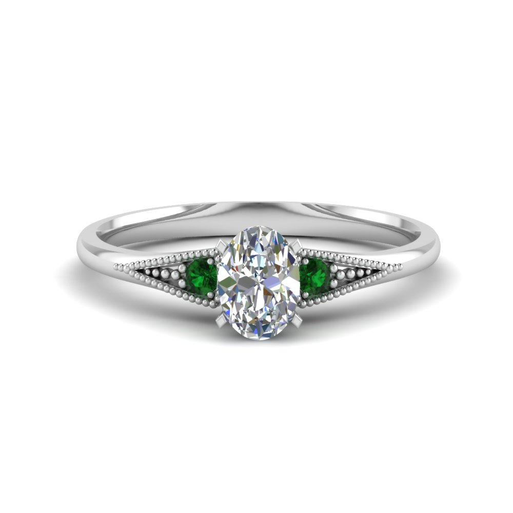 oval shaped small 3 stone diamond milgrain engagement ring with emerald in FD8073OVRGEMGR NL WG