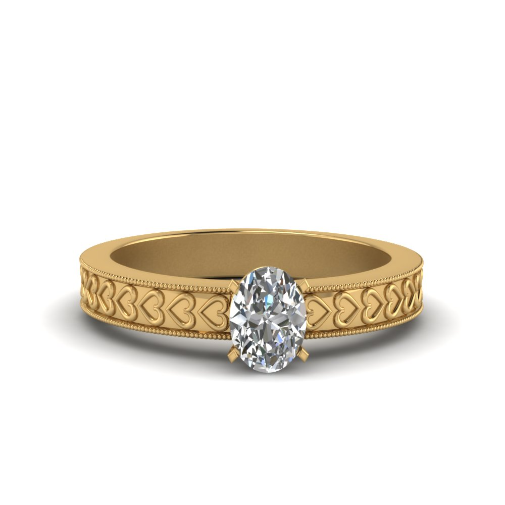 Solitaire Engraved Oval Shaped Ring