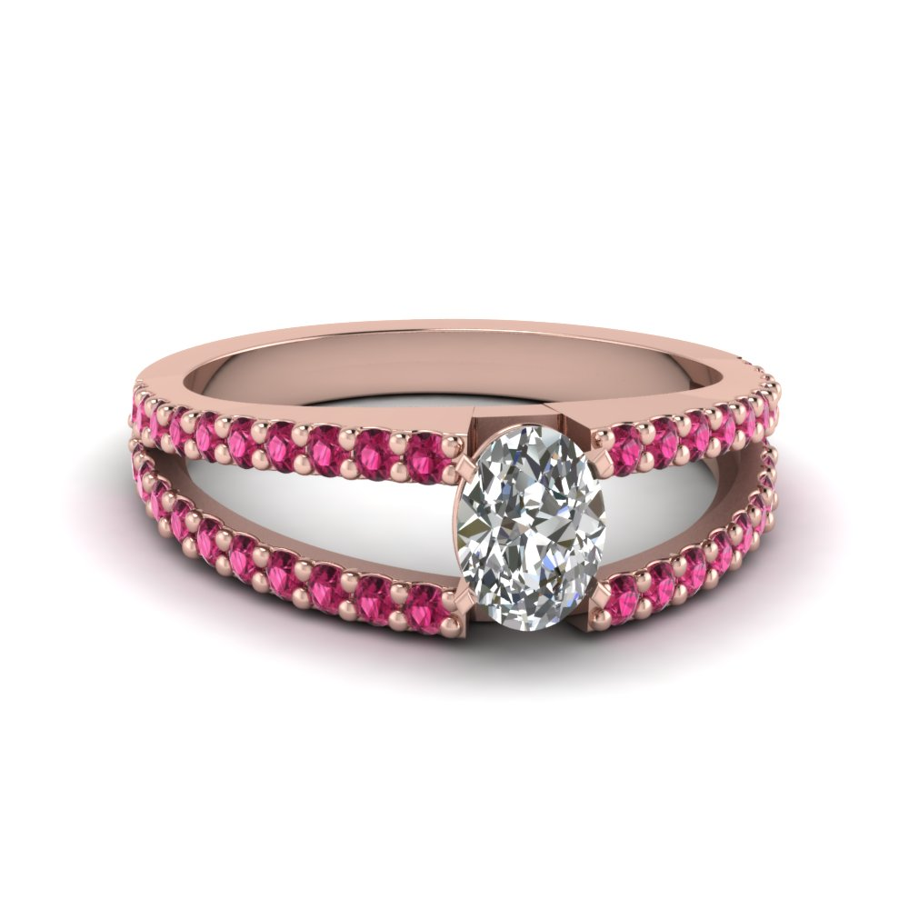 oval shaped split band gemstone with diamond engagement ring with pink sapphire in FDENR8335OVRGSADRPI NL RG GS