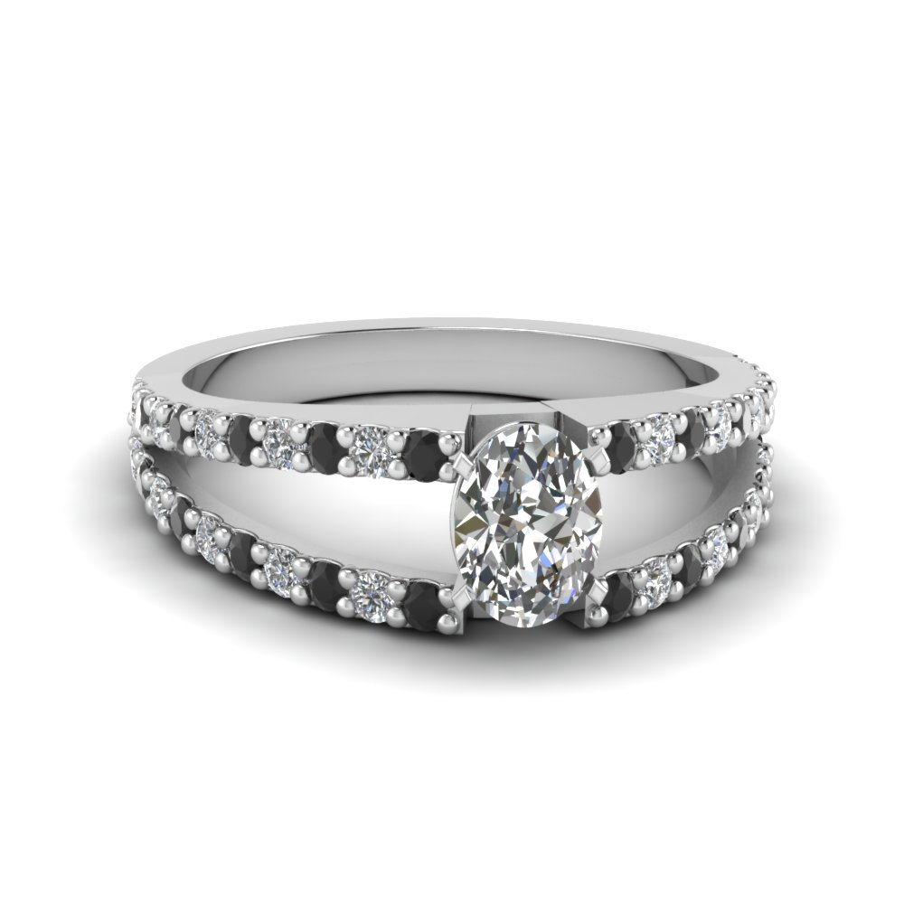 oval shaped split double band engagement ring with black diamond in FDENR8335OVRGBLACK NL WG