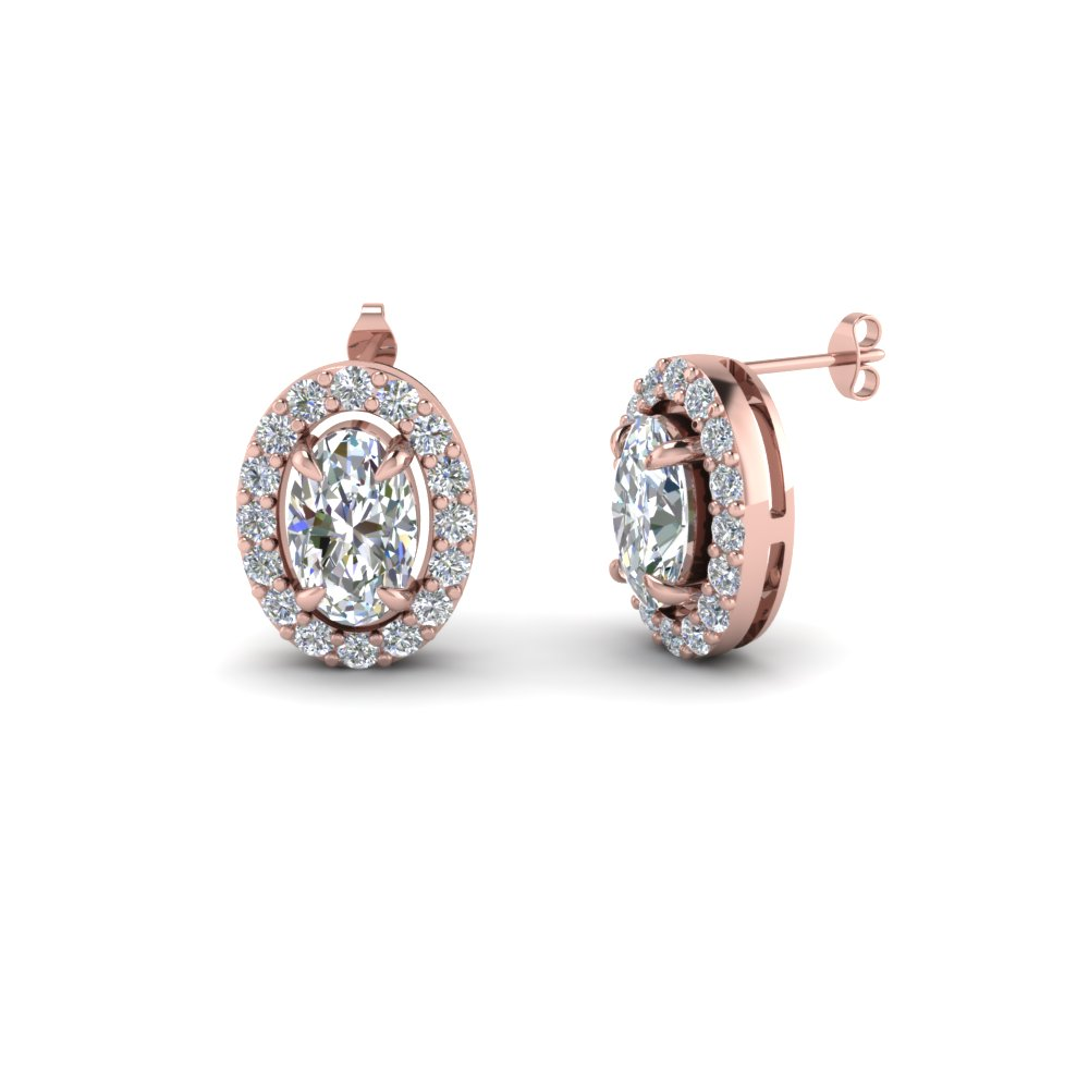 oval shaped stud diamond earrings in 14K rose gold FDEAR1186OV NL RG