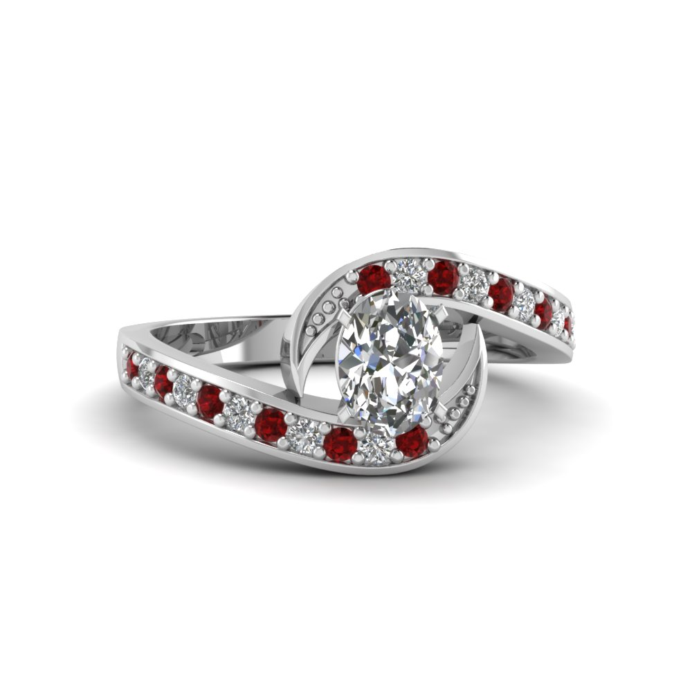 oval shaped swirl pave moissanite engagement ring with ruby in FDENS3006OVRGRUDR NL WG