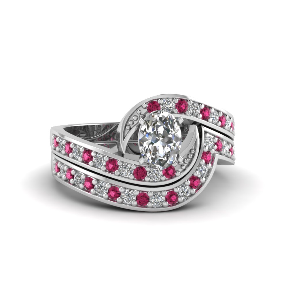 oval shaped swirl pave moissanite wedding ring set with pink sapphire in FDENS3006OVGSADRPI NL WG