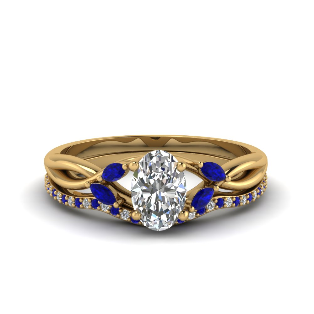 oval shaped twisted diamond bridal set with sapphire in FD8300OVGSABL NL YG