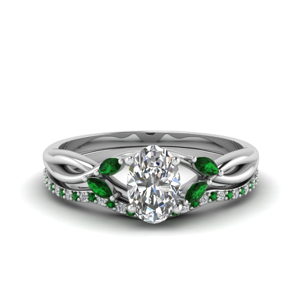 oval shaped twisted diamond bridal set with emerald in FD8300OVGEMGR NL WG
