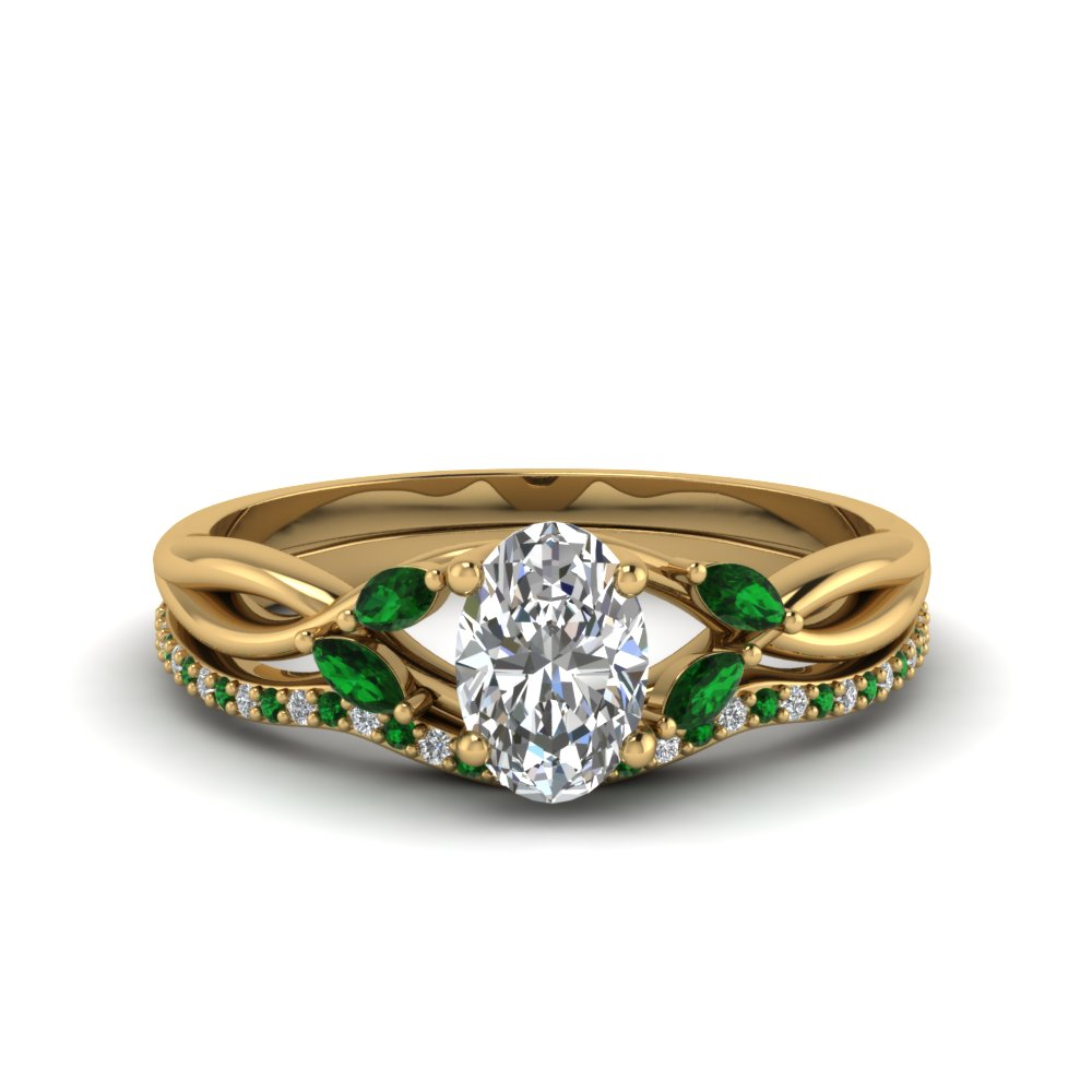 oval shaped twisted diamond bridal set with emerald in FD8300OVGEMGR NL YG