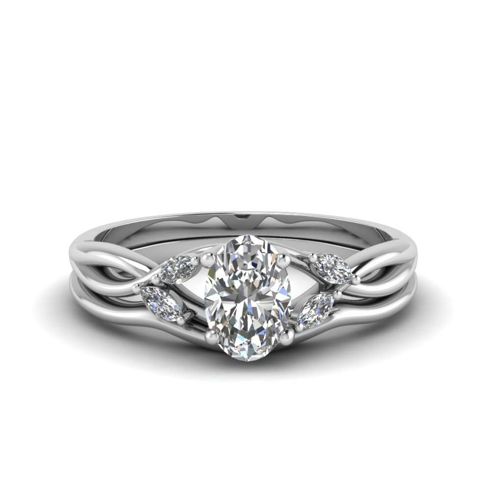 oval shaped twisted diamond engagement ring with matching curved band in FD8300OV NL WG