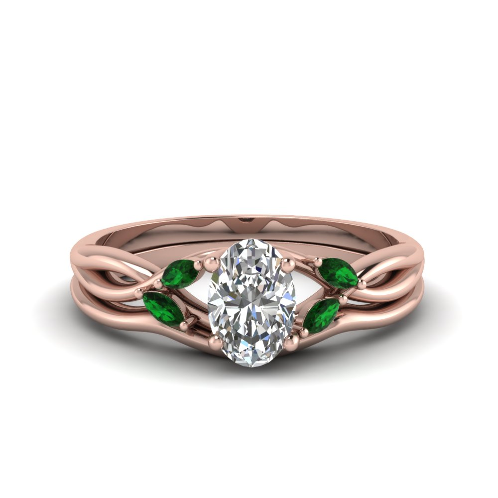 oval shaped twisted diamond and emerald engagement ring with matching curved band in FD8300OVGEMGR NL RG