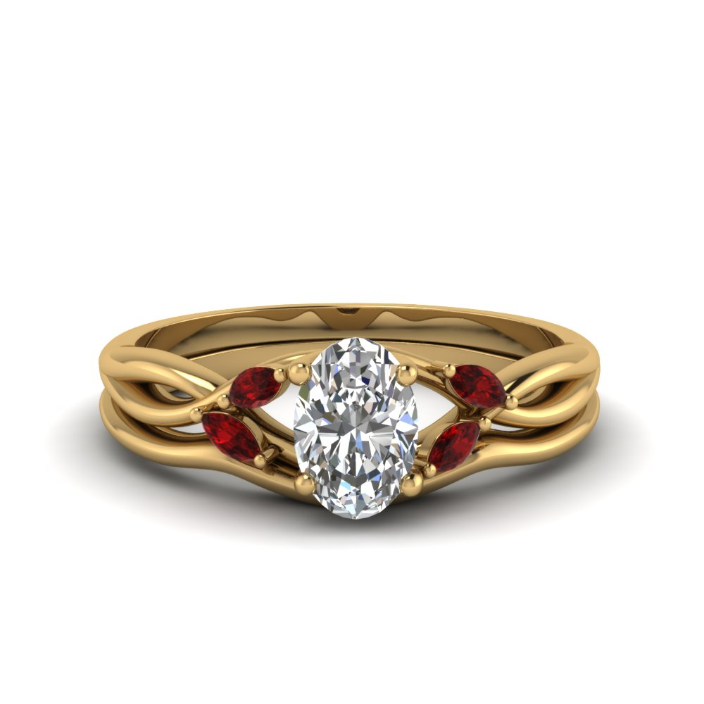 nature inspired ruby engagement ring with matching band - Nature Inspired Wedding Rings