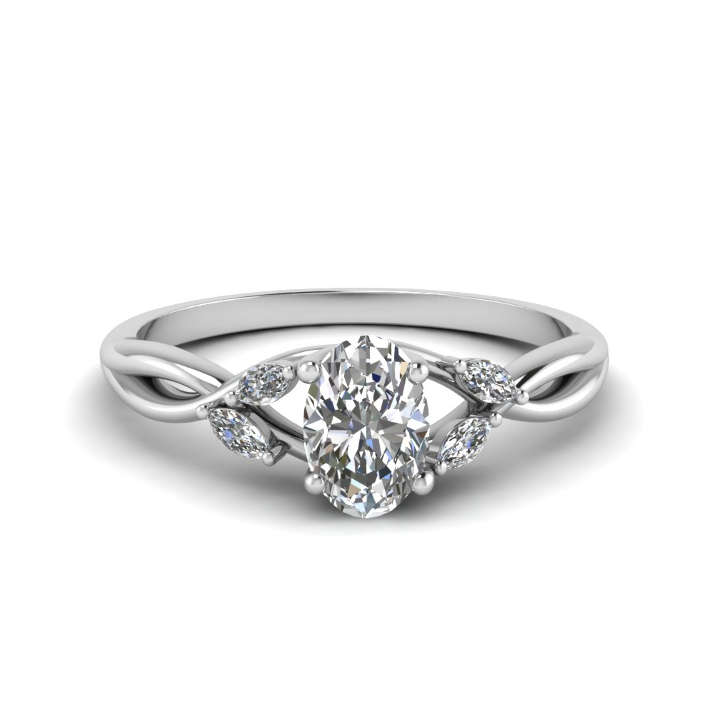 oval shaped twisted petal diamond engagement ring in FD8300OVR NL WG