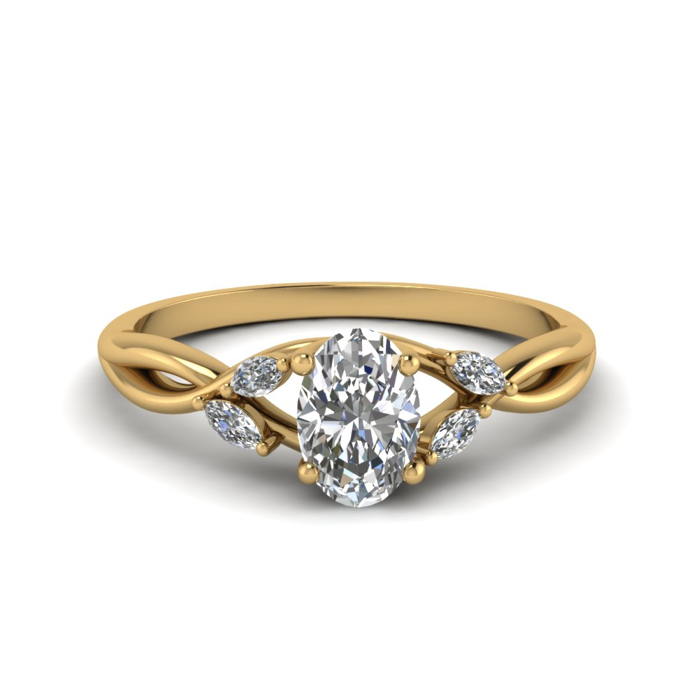 oval shaped twisted petal diamond engagement ring in FD8300OVR NL YG