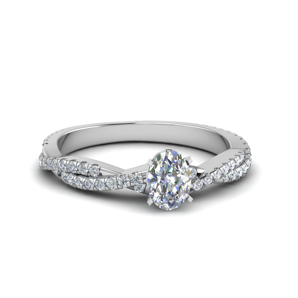 oval shaped twisted vine diamond engagement ring for women in 18K white gold FD8233OVR NL WG
