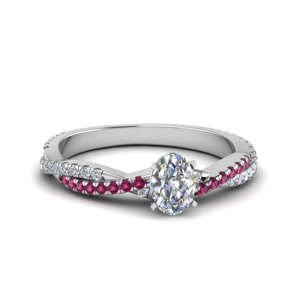 oval shaped twisted vine diamond engagement ring for women with pink sapphire in 14K white gold FD8233OVRGSADRPI NL WG
