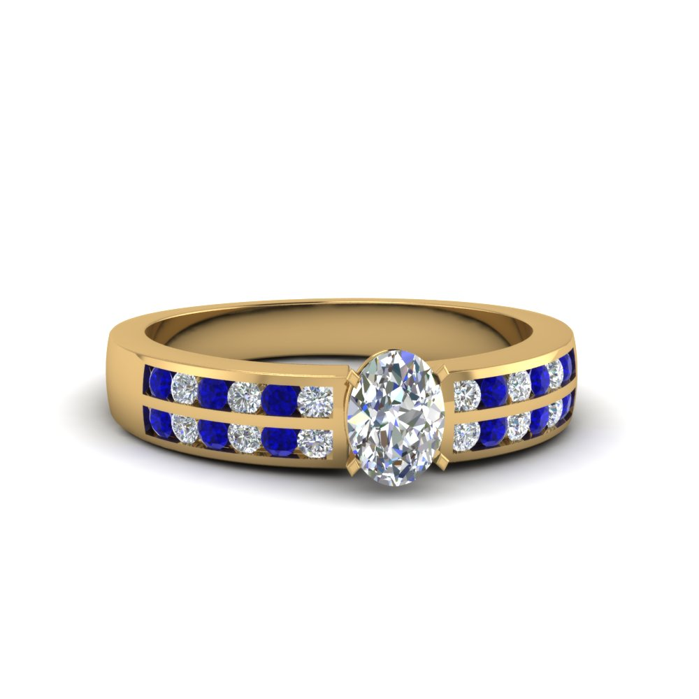 Engagement Ring With Diamond And Sapphire
