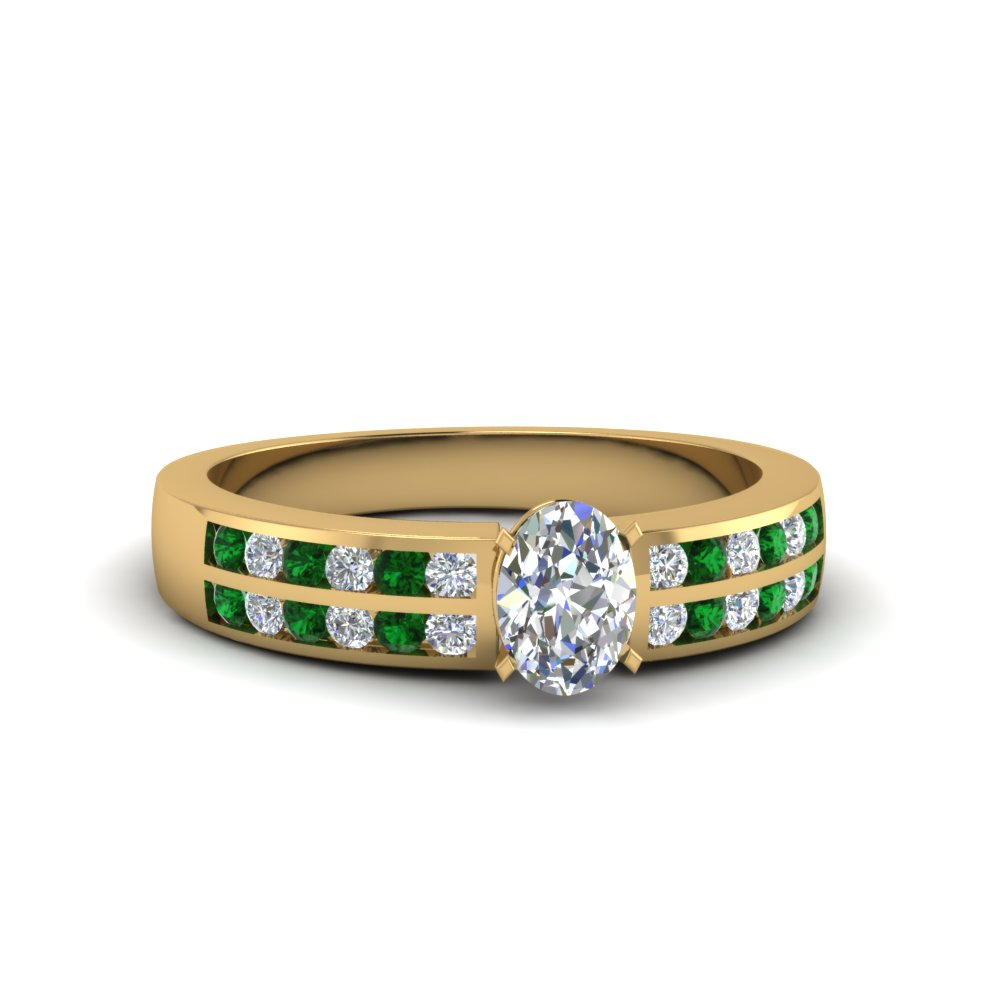 oval shaped two row channel diamond ring with emerald in 18K yellow gold FDENS3119OVRGEMGR NL YG