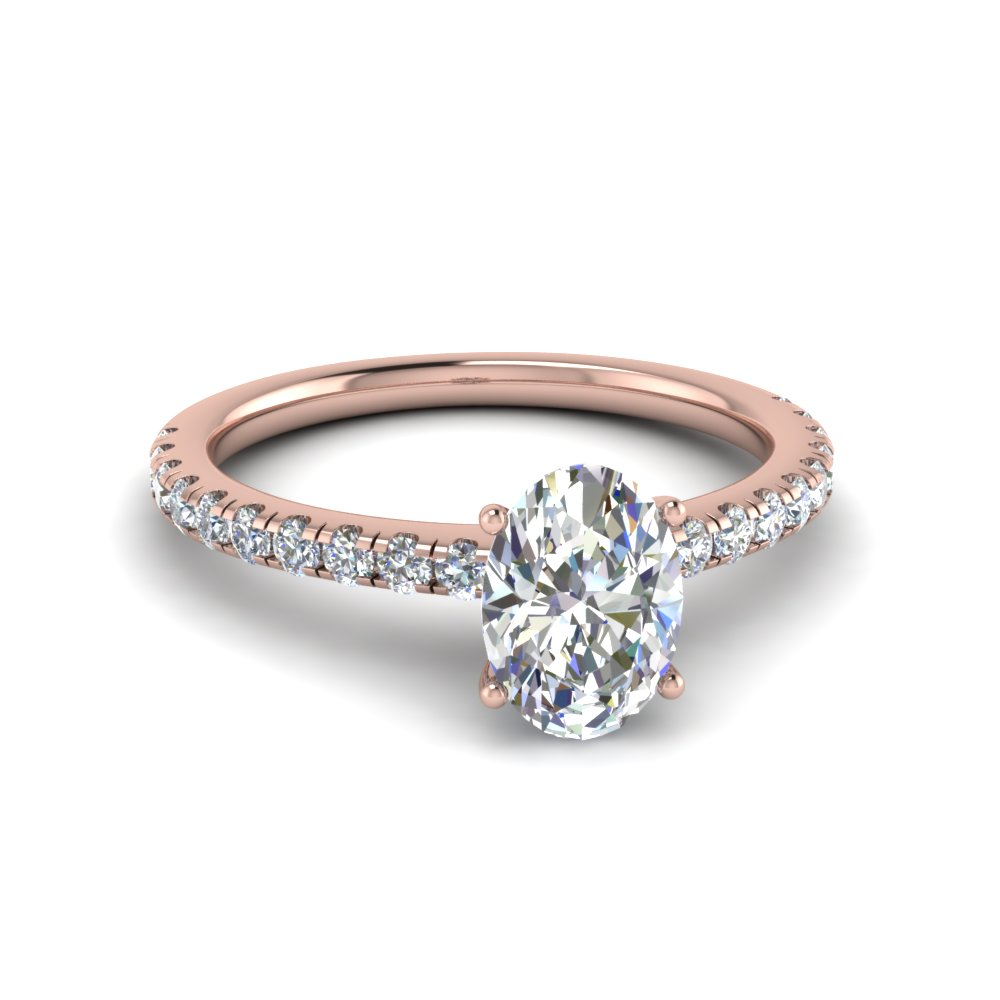oval shaped u prong moissanite engagement ring in FD8362OVR NL RG