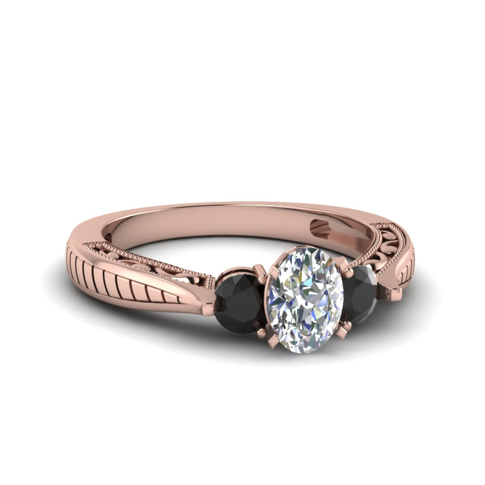Oval & Black Diamond 3 Stone Ring
