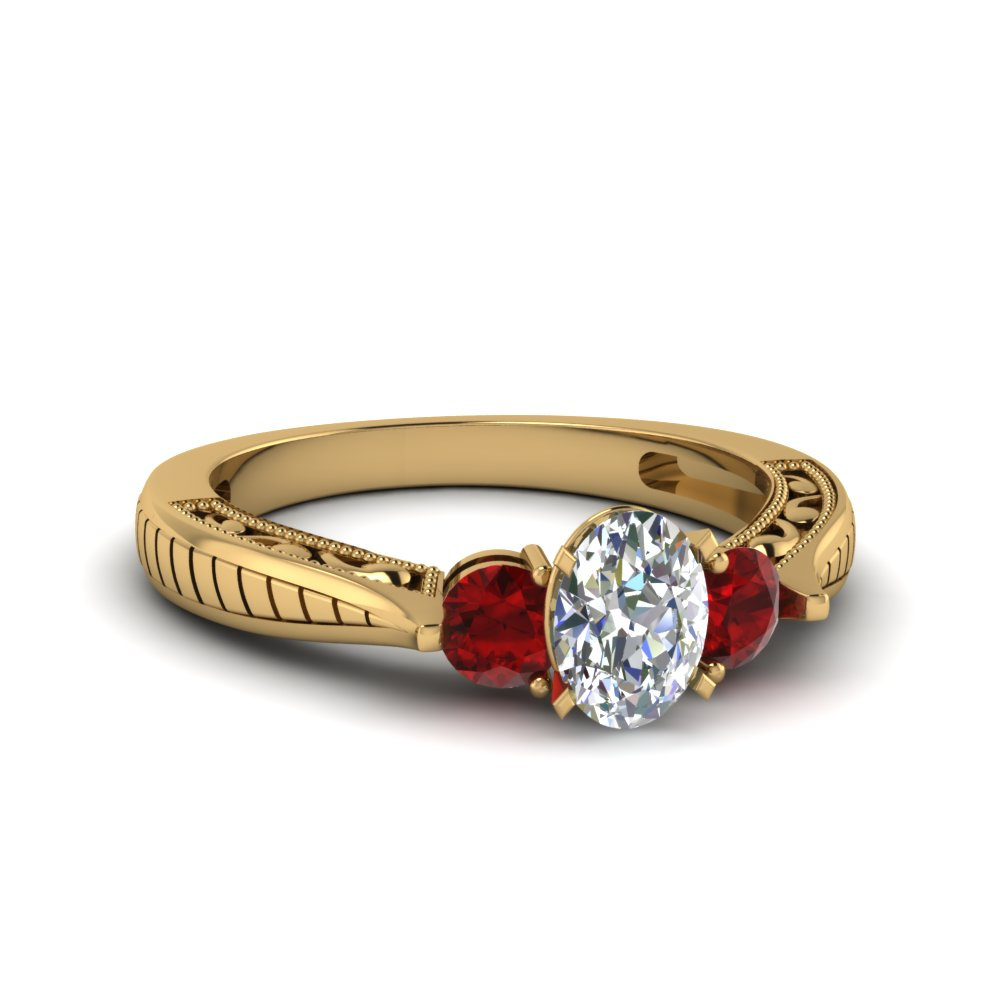 oval shaped vintage style three stone engagement ring with ruby in 14K yellow gold FDENR1814OVRGRUDR NL YG