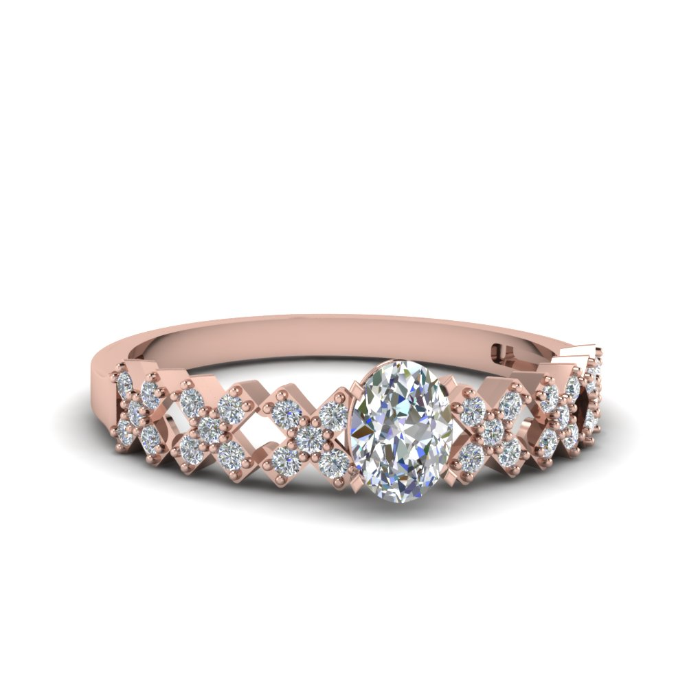 oval shaped x pattern accent diamond engagement ring in 14K rose gold FDENS3041OVR NL RG 30