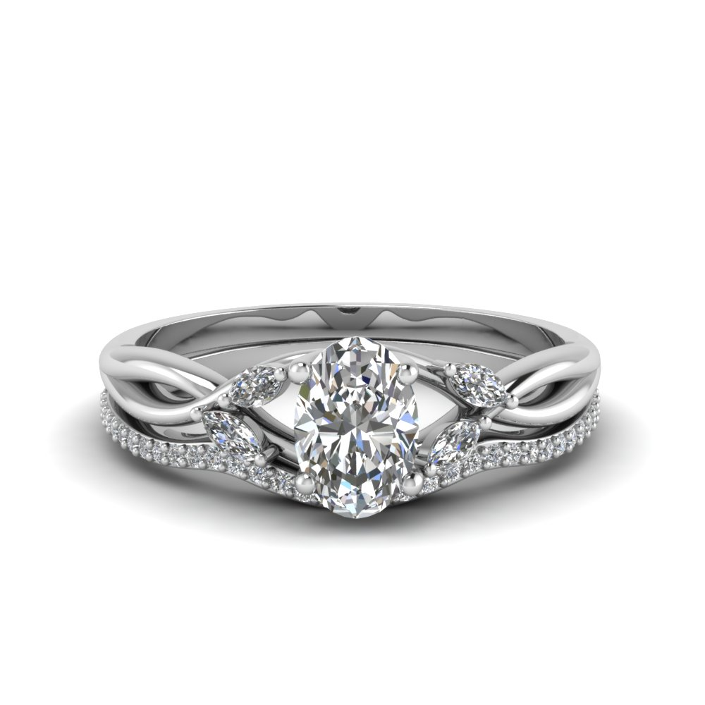 oval twisted bridal ring set in 14k white gold | fascinating diamonds