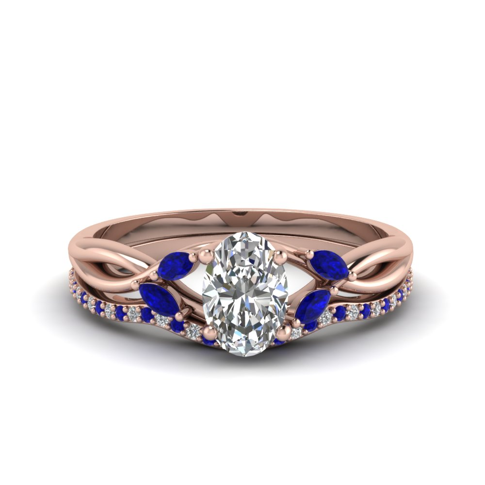 Accent Sapphire Bridal Ring Set