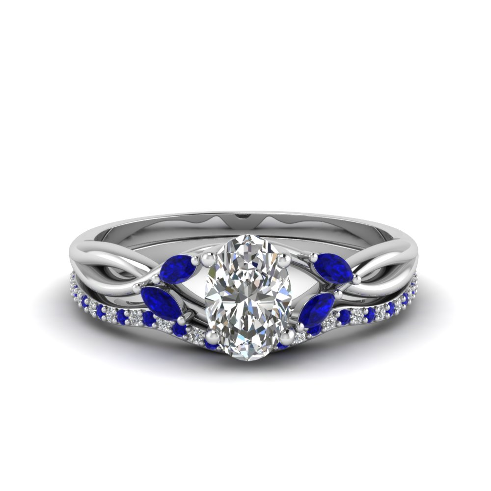 oval twisted bridal ring set with blue sapphire accents in FD8300OVGSABL NL WG