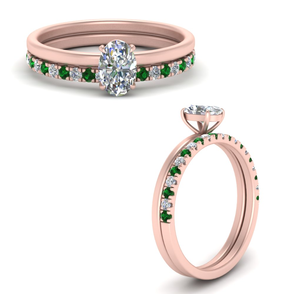 Oval Delicate Thin Setting With Emerald Half Eternity Band In 14k Rose Gold Fascinating Diamonds