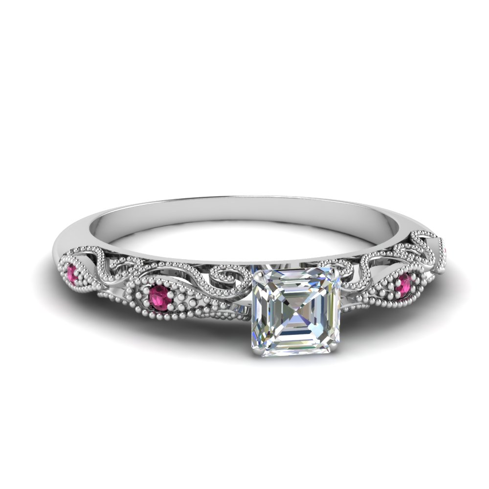 paisley asscher diamond engagement ring with pink sapphire in FD69805ASRGSADRPI NL WG.jpg