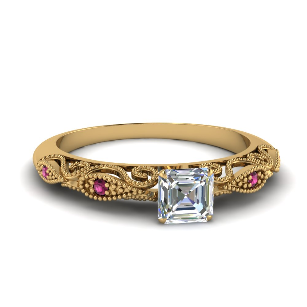 paisley asscher diamond engagement ring with pink sapphire in FD69805ASRGSADRPI NL YG.jpg