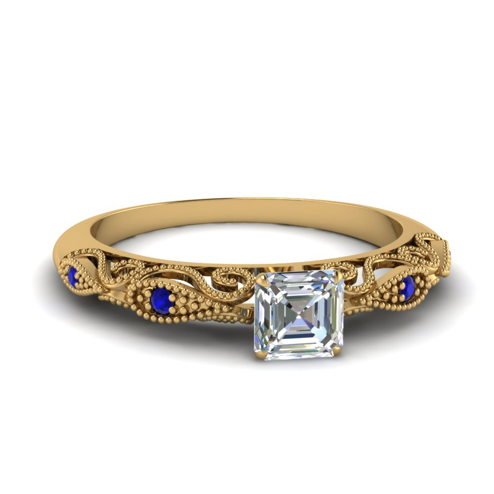 paisley asscher diamond engagement ring with sapphire in FD69805ASRGSABL NL YG.jpg