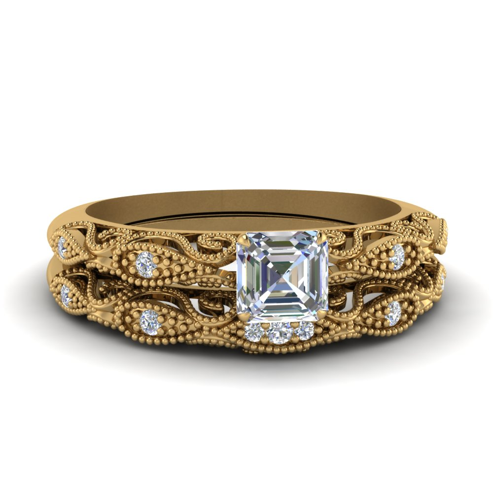 paisley asscher diamond wedding ring set in FD69805AS NL YG.jpg