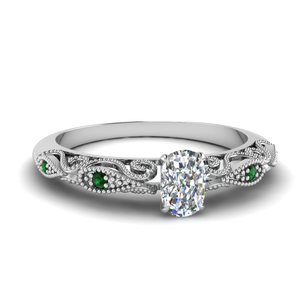 paisley cushion diamond engagement ring with emerald in FD69805CURGEMGR NL WG.jpg