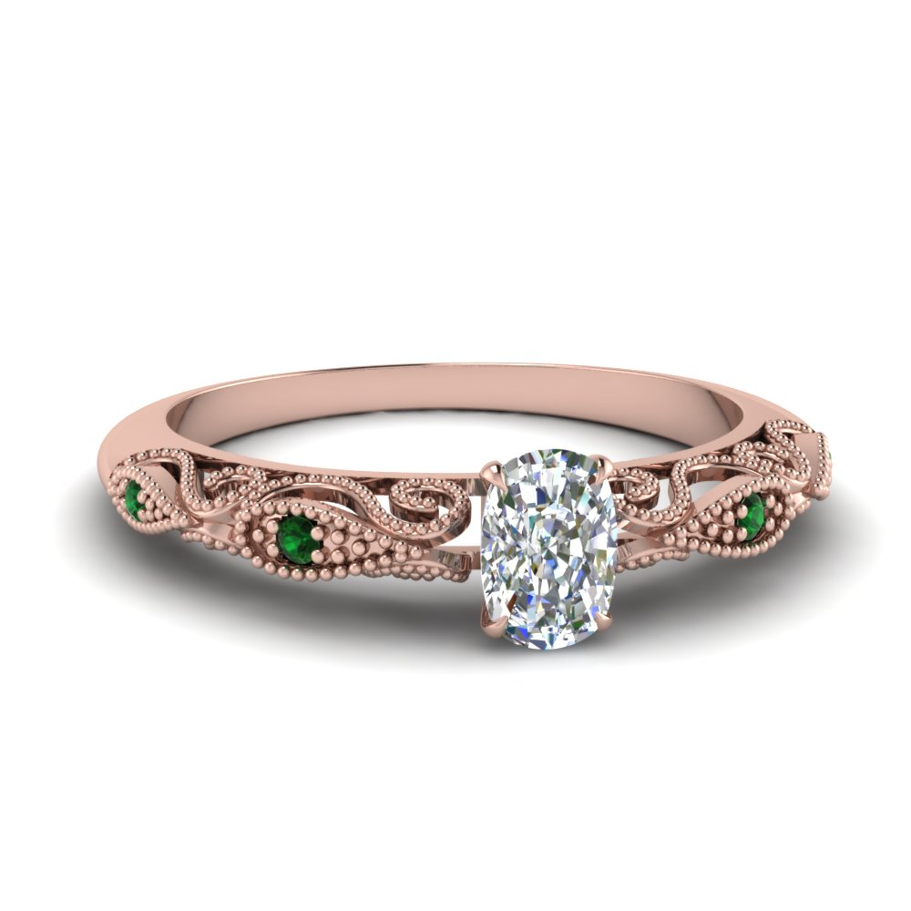 paisley cushion diamond engagement ring with emerald in FD69805CURGEMGR NL RG.jpg