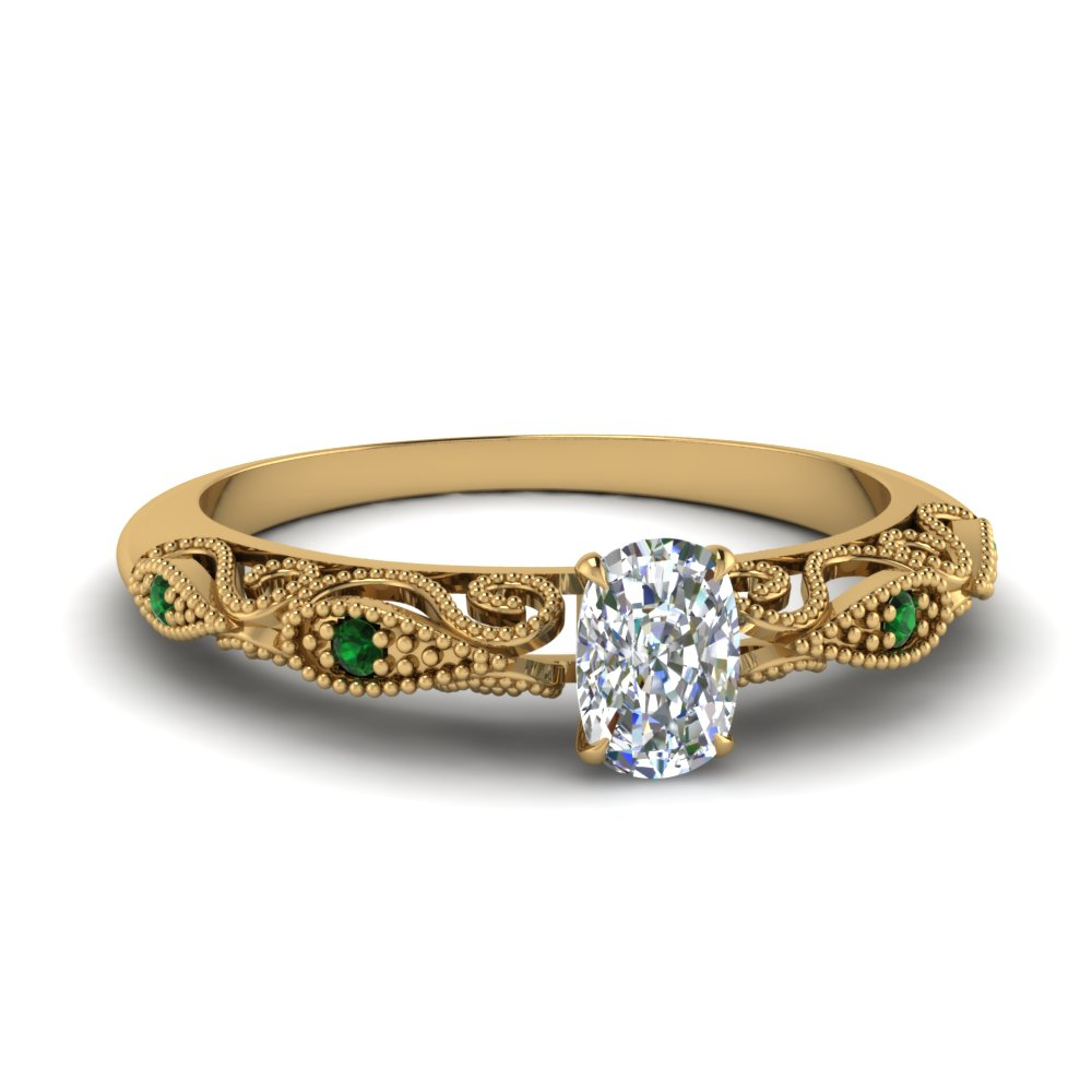 paisley cushion diamond engagement ring with emerald in FD69805CURGEMGR NL YG.jpg