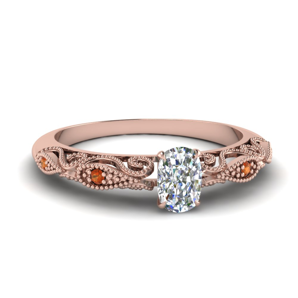 paisley cushion diamond engagement ring with orange sapphire in FD69805CURGSAOR NL RG.jpg