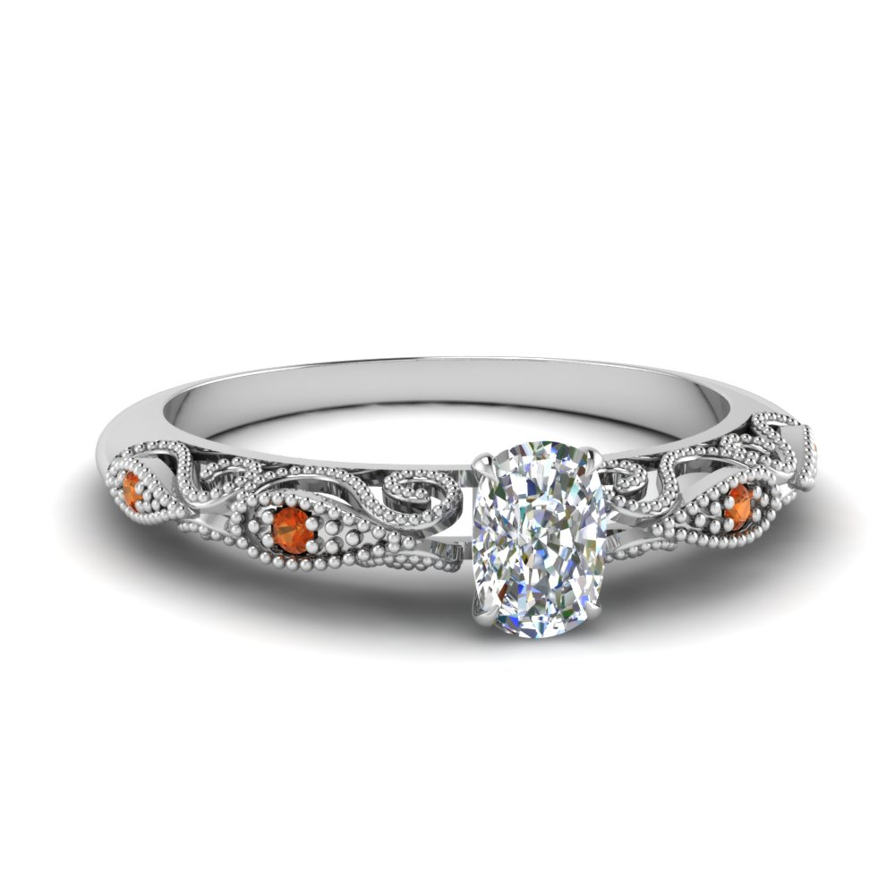 paisley cushion diamond engagement ring with orange sapphire in FD69805CURGSAOR NL WG.jpg