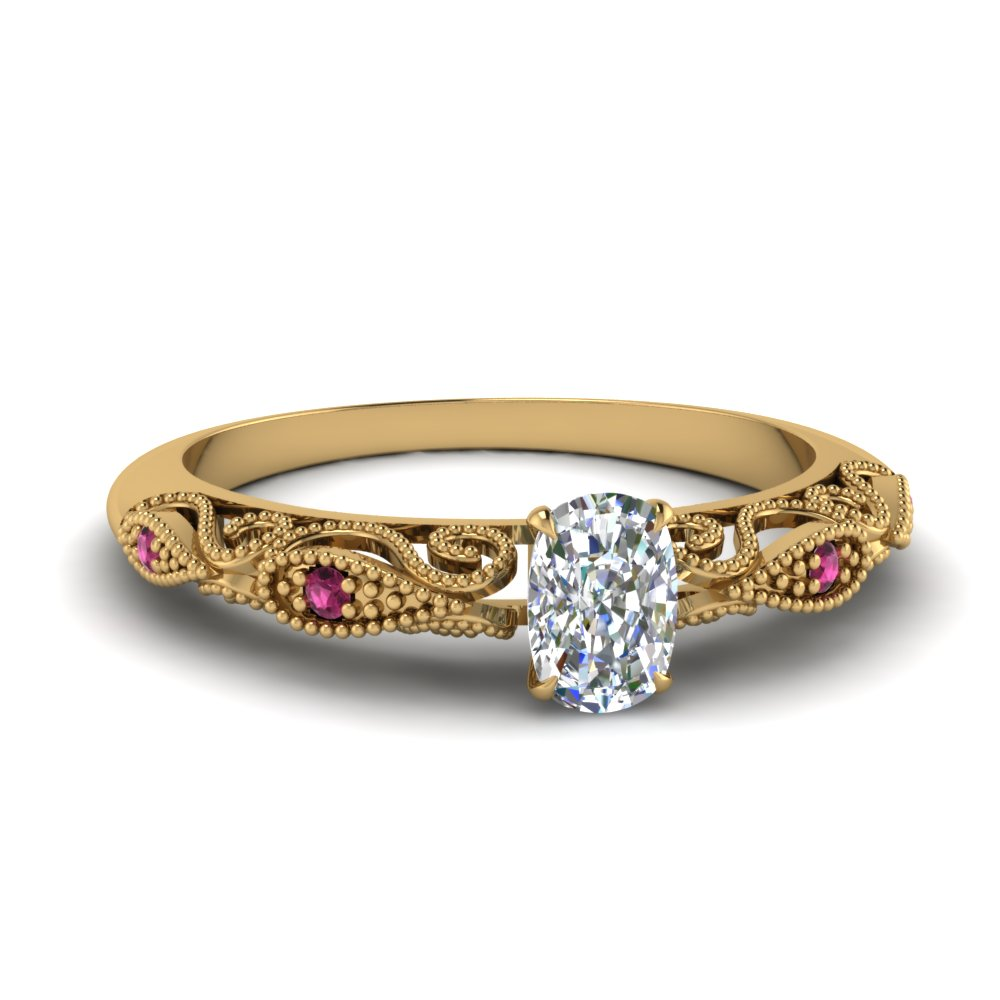 paisley cushion diamond engagement ring with pink sapphire in FD69805CURGSADRPI NL YG.jpg