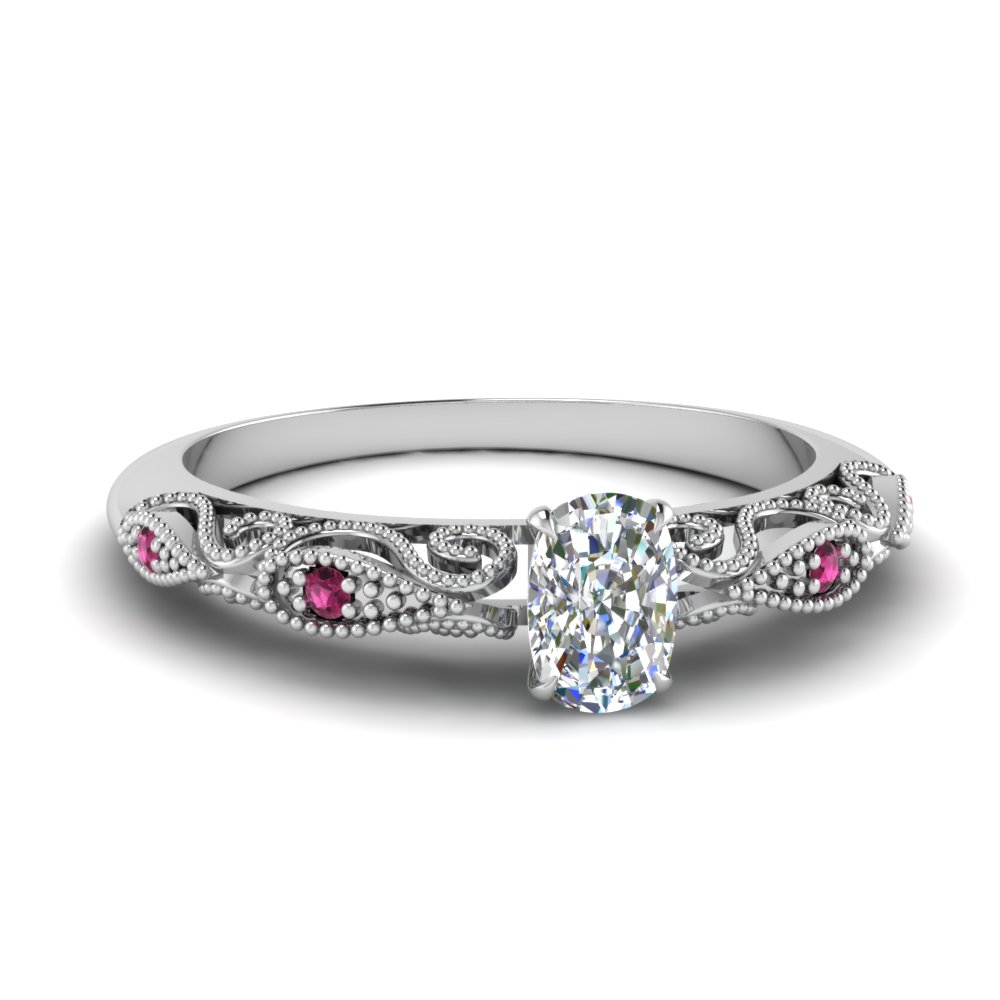 paisley cushion diamond engagement ring with pink sapphire in FD69805CURGSADRPI NL WG.jpg