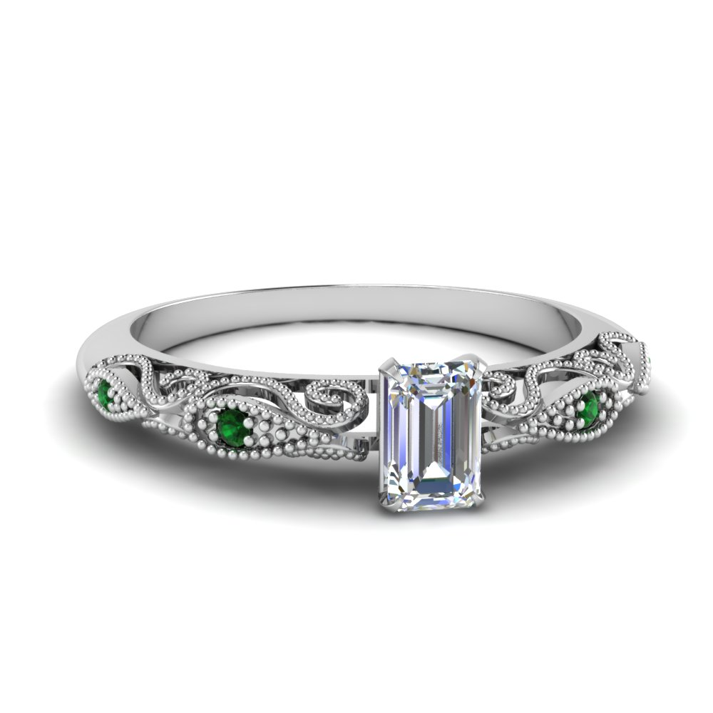 paisley emerald cut diamond engagement ring with emerald in FD69805EMRGEMGR NL WG.jpg