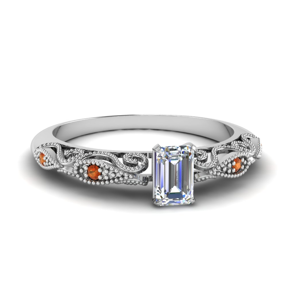 paisley emerald cut diamond engagement ring with orange sapphire in FD69805EMRGSAOR NL WG.jpg