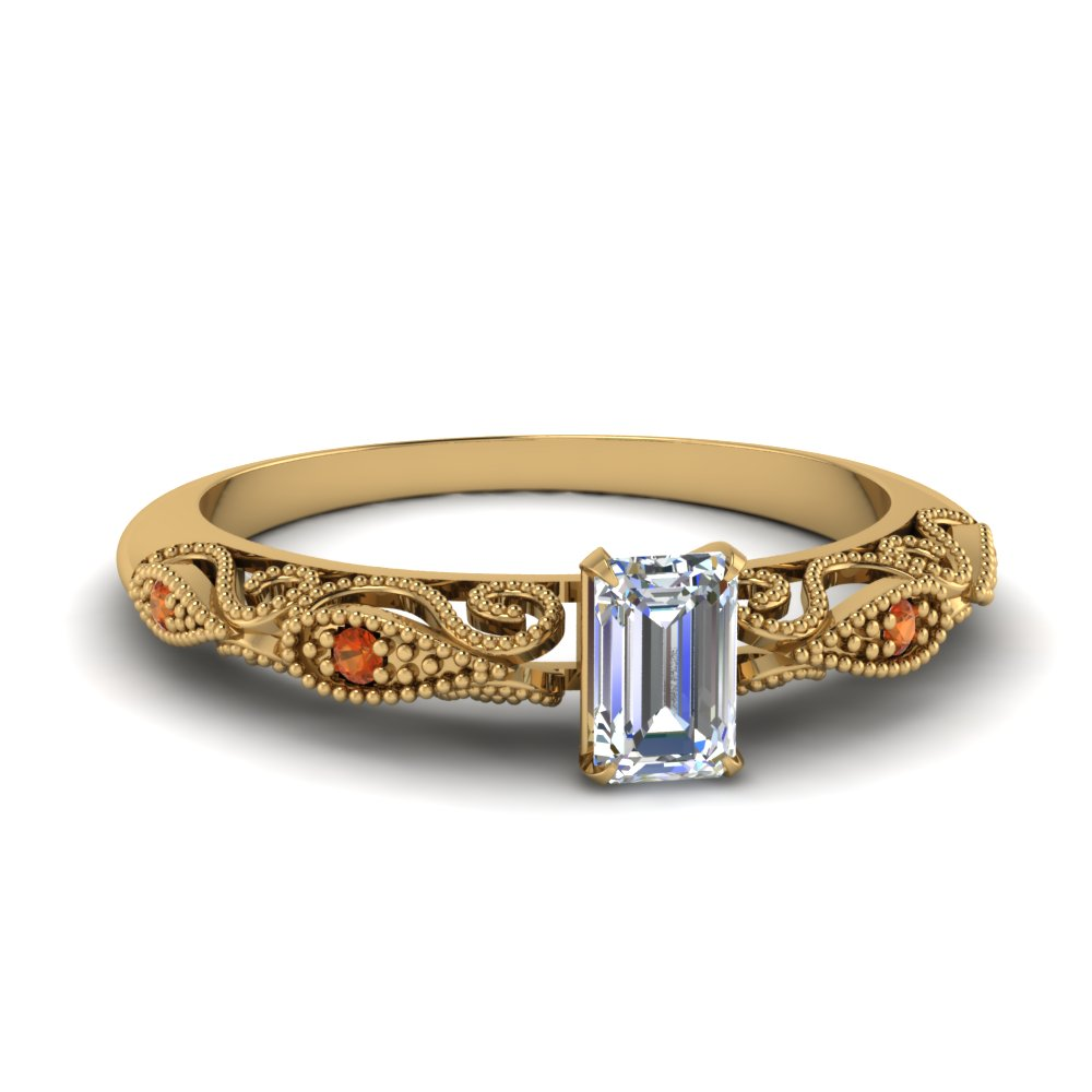 paisley emerald cut diamond engagement ring with orange sapphire in FD69805EMRGSAOR NL YG.jpg