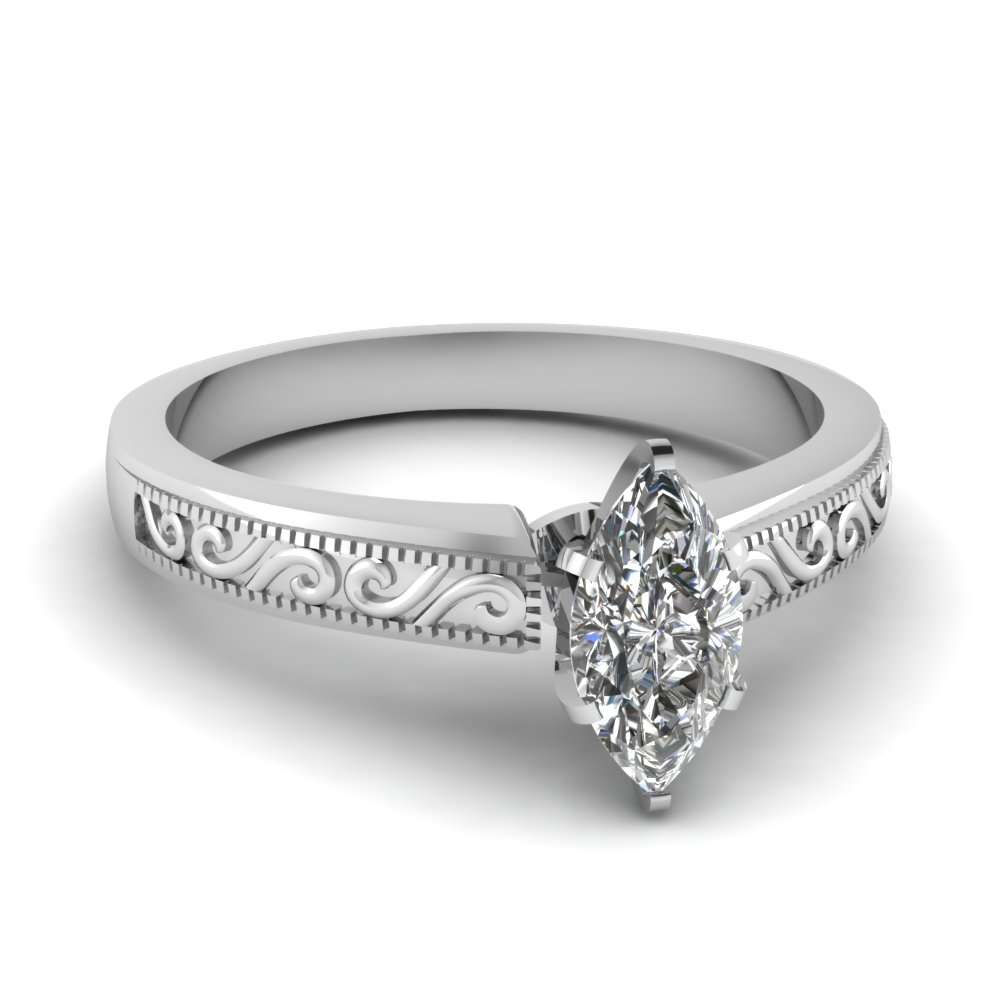 paisley engraved 0.75 carat marquise diamond engagement ring in 14K white gold FDENR2133MQR NL WG