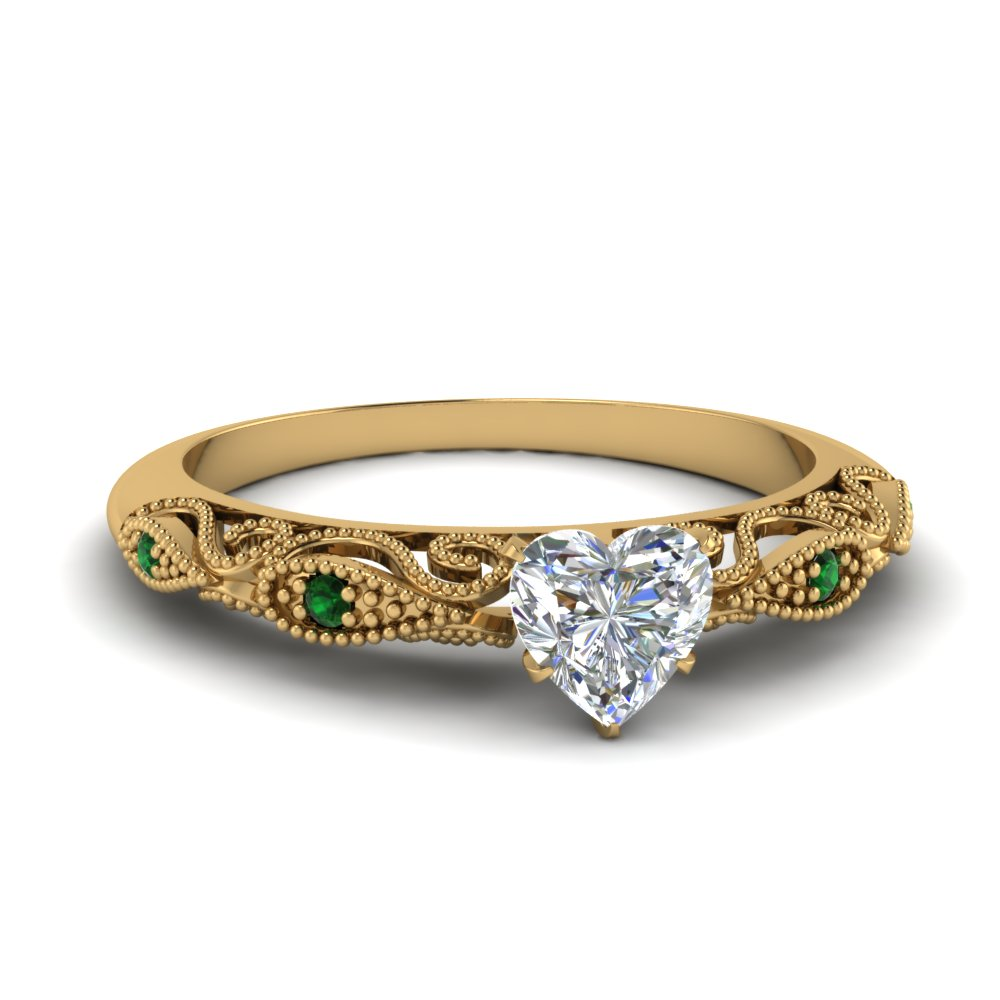paisley heart diamond engagement ring with emerald in FD69805HTRGEMGR NL YG.jpg