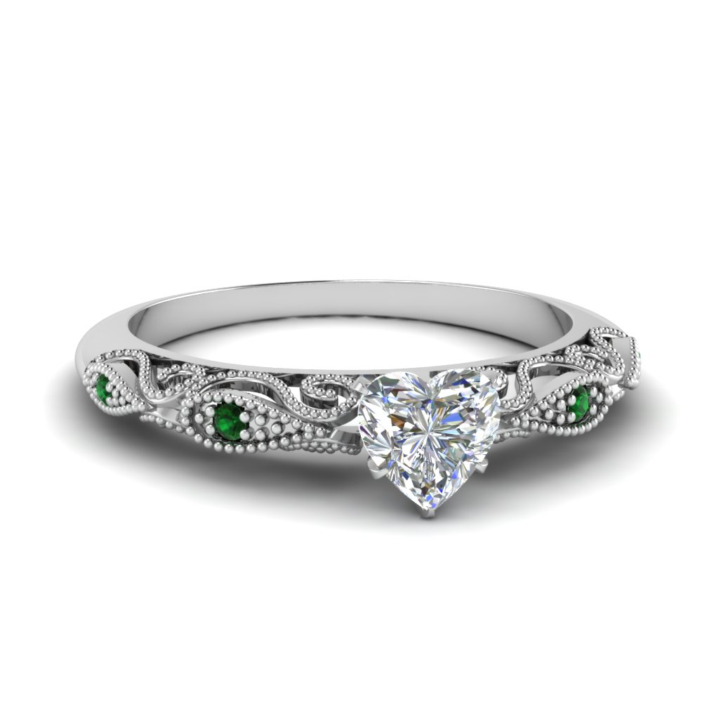 paisley heart diamond engagement ring with emerald in FD69805HTRGEMGR NL WG.jpg