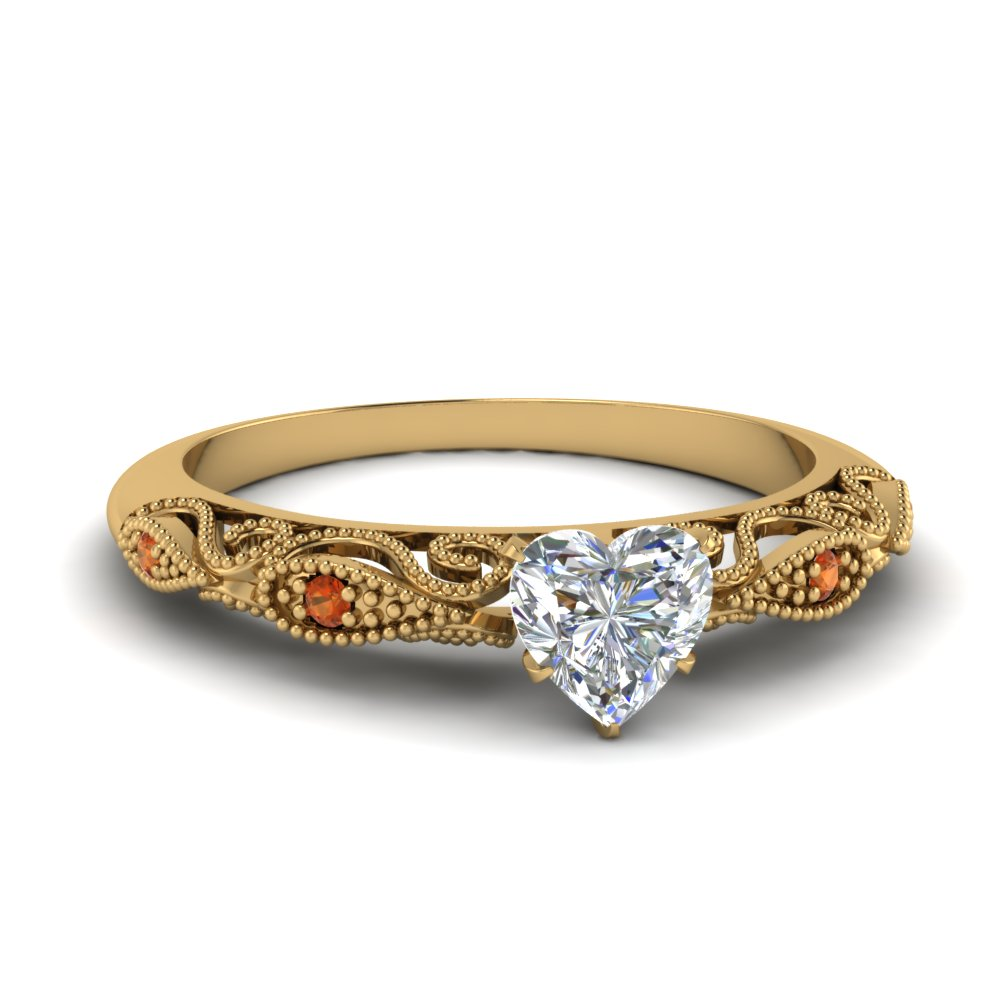 paisley heart diamond engagement ring with orange sapphire in FD69805HTRGSAOR NL YG.jpg