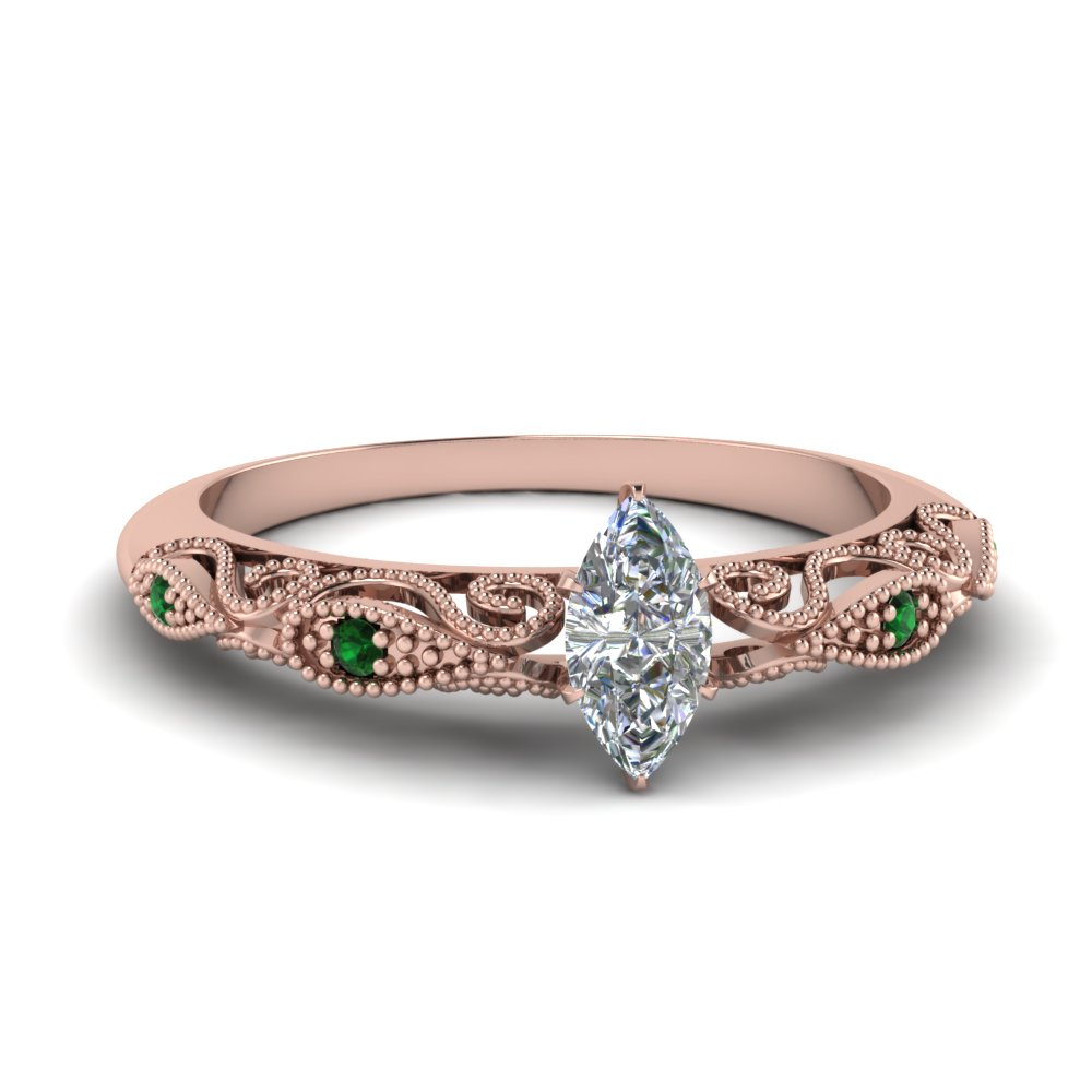 paisley marquise diamond engagement ring with emerald in FD69805MQRGEMGR NL RG.jpg