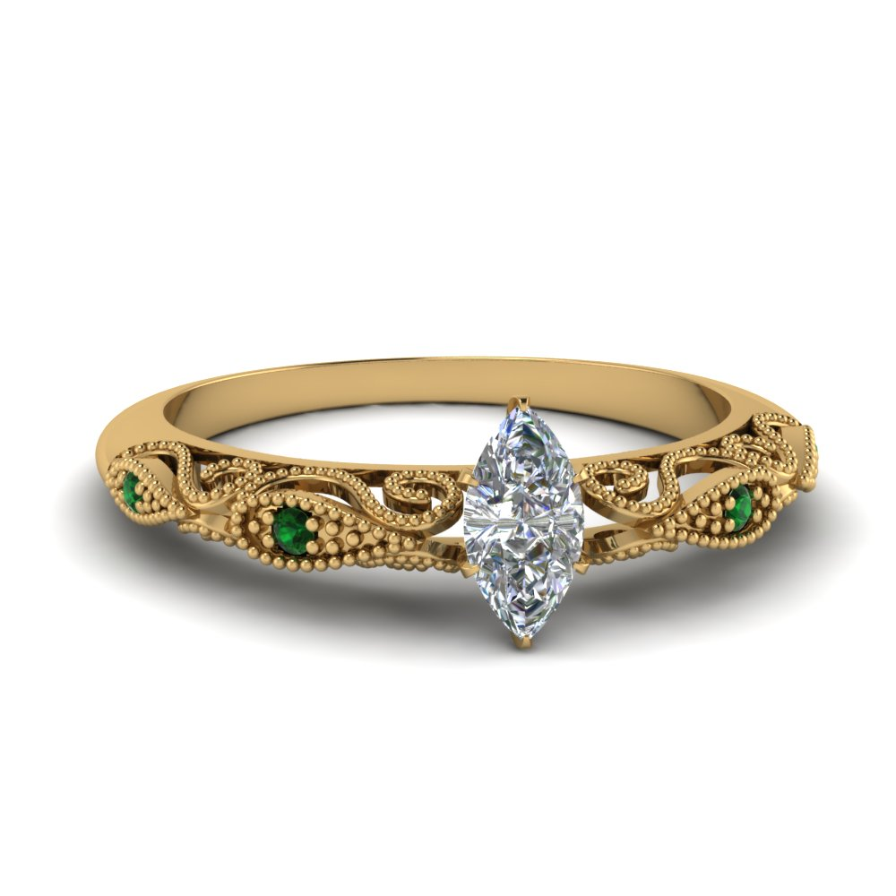 paisley marquise diamond engagement ring with emerald in FD69805MQRGEMGR NL YG.jpg