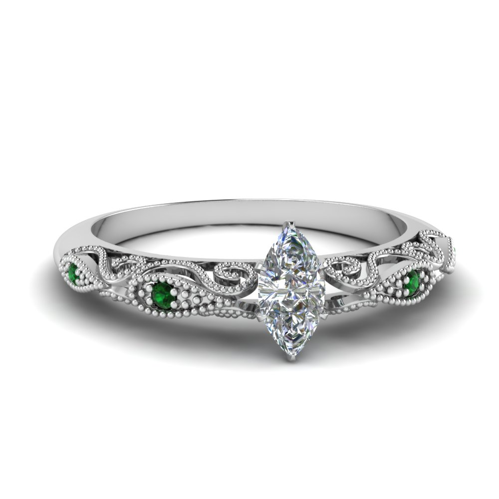 paisley marquise diamond engagement ring with emerald in FD69805MQRGEMGR NL WG.jpg