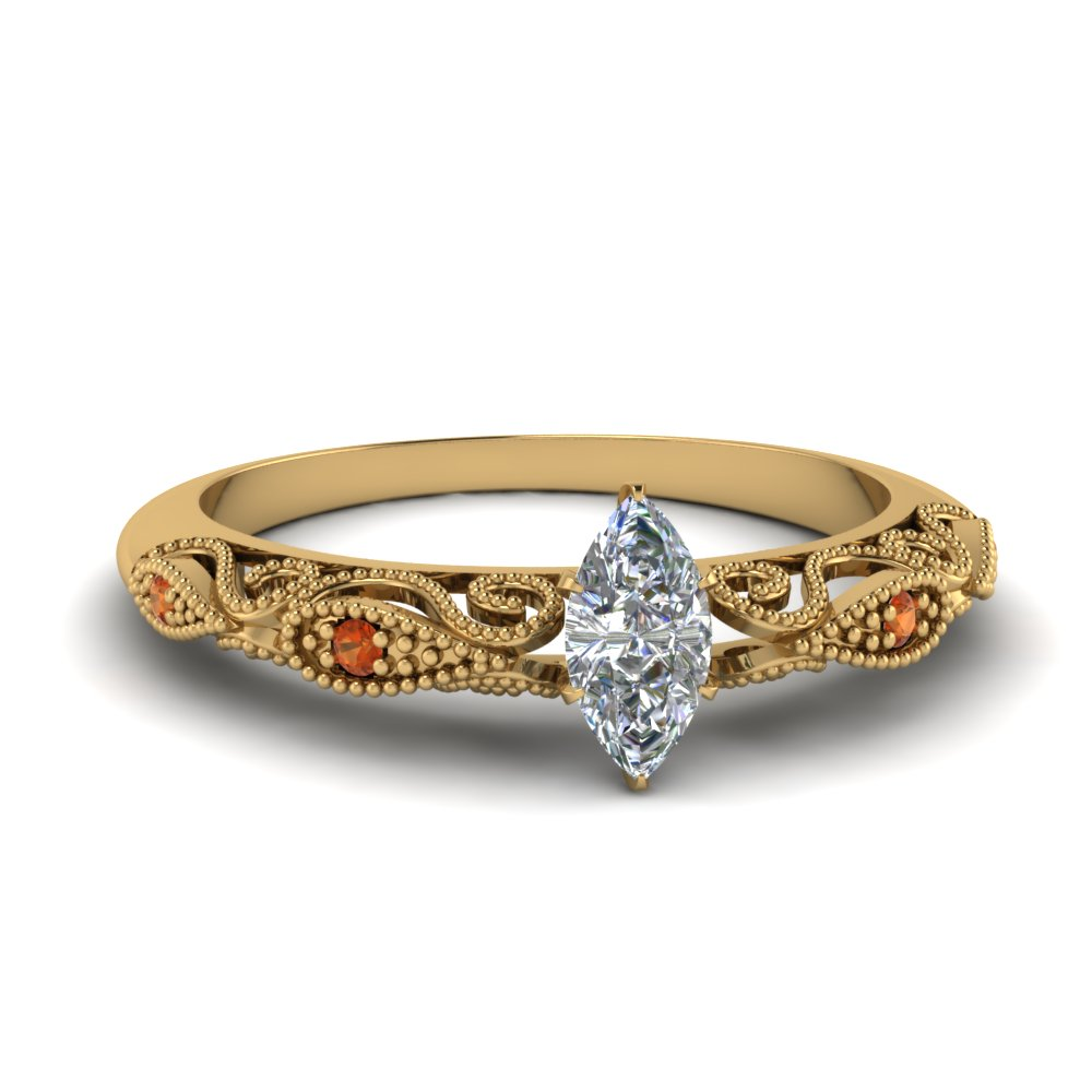 paisley marquise diamond engagement ring with orange sapphire in FD69805MQRGSAOR NL YG.jpg