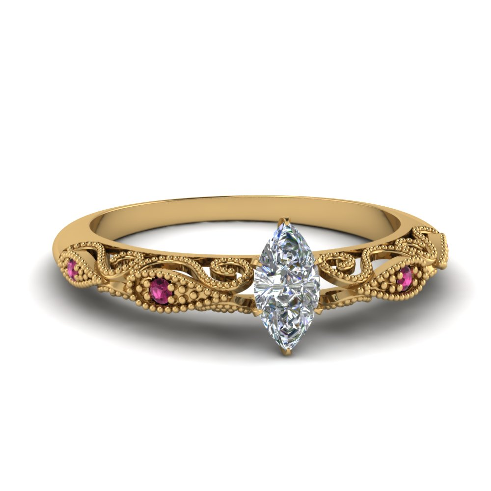 paisley marquise diamond engagement ring with pink sapphire in FD69805MQRGSADRPI NL YG.jpg